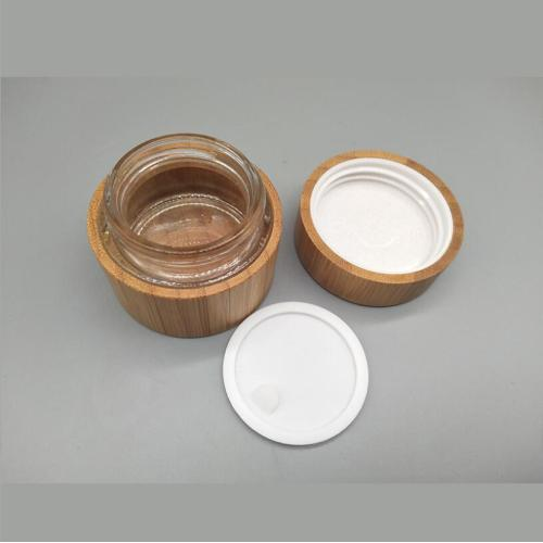 Cosmetic Bamboo Cream Bottle With Plastic Inner