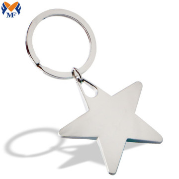 Metal Custom Silver Star Shape Keychain