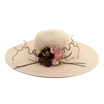 Greens flower decoration hill block party straw hat