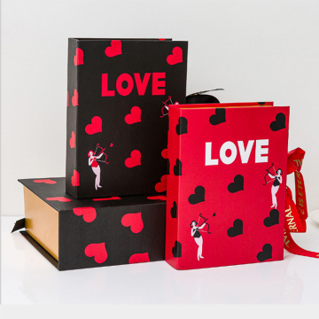 Valentine's Day book-shape gift box with ribbon