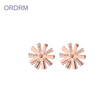 Rose gold girl crystal flower stud earrings