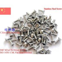 Stainless Steel Screws M2x6 ISO 14581 Flat Head Torx T6 Drive A2-70 Polished ROHS 100 pcs