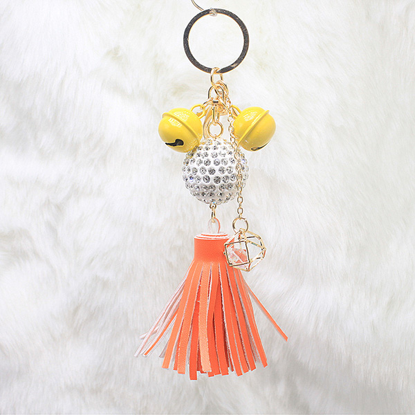 Leather Tassel Keychain With Clasp For Bag