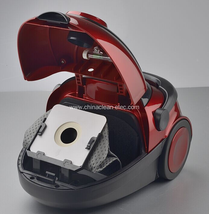 mini red bagged vacuum cleaner