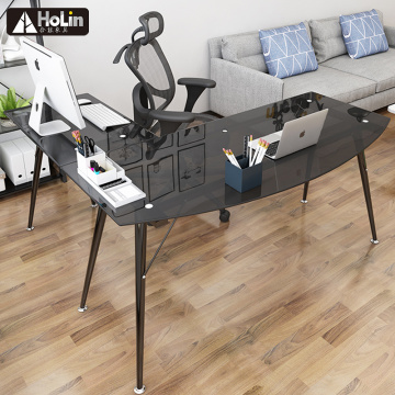 L shaped tempered glass computer table
