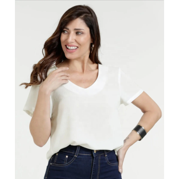 Chiffon Short Sleeve Blouses Female Summer V-Neck Tops