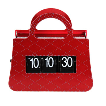 Ladies Colorful Handbag Flip Table Clock