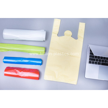 White Thank You Plastic T-Shirt Bags On Roll