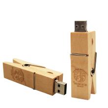 (Over 10pcs Free Logo) creative Wooden Clip Usb Flash Drive Pendrives 2.0 16gb 32gb Memory Stick 2.0 U Disk USB Pen Sticks 64GB