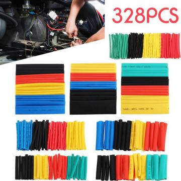 328pcs/box Heat Shrink Tube Kit Shrinking Assorted Polyolefin Insulation Sleeving Heat Shrink Tubing Wire Cable Tape