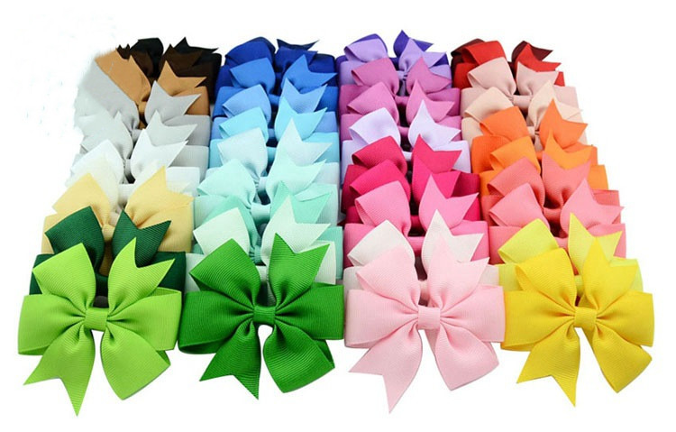 Plain ribbed ribbon fish-tail bow hair clip (4)