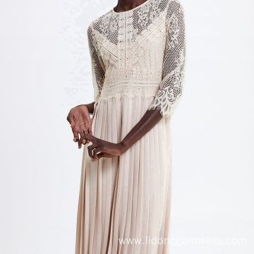 Women Long Sleeve Lace Stitching Dress