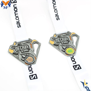 Silver running medal custom for sale