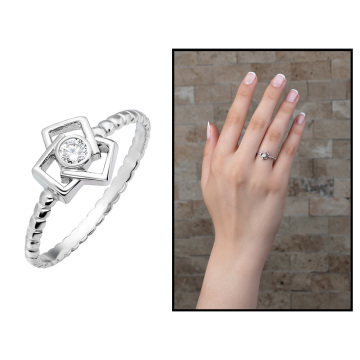 Tesbihane Broad Bean Design 925 Sterling Silver Women Engagement Ring