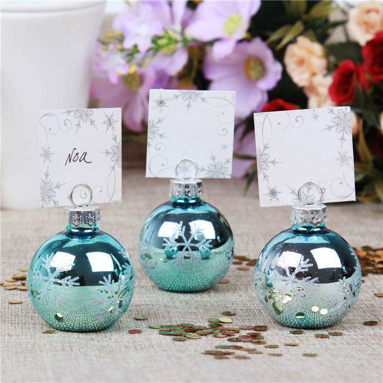 PC002-4 Snowflake Bauble Place Card Holder Blue