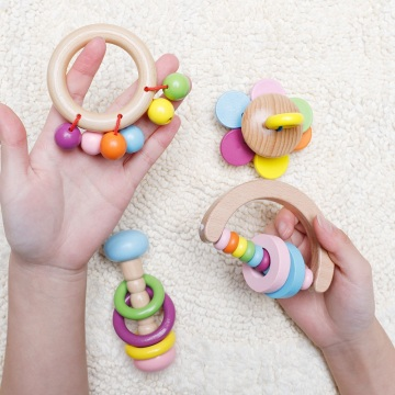 1PC Wooden Baby Rattles Toys Hand Teething Wooden Ring Musical Educational Instrument Colorful Toddlers Rattle Children Gift Toy