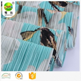 Wholesale custom print pleated polyester crepe fabric