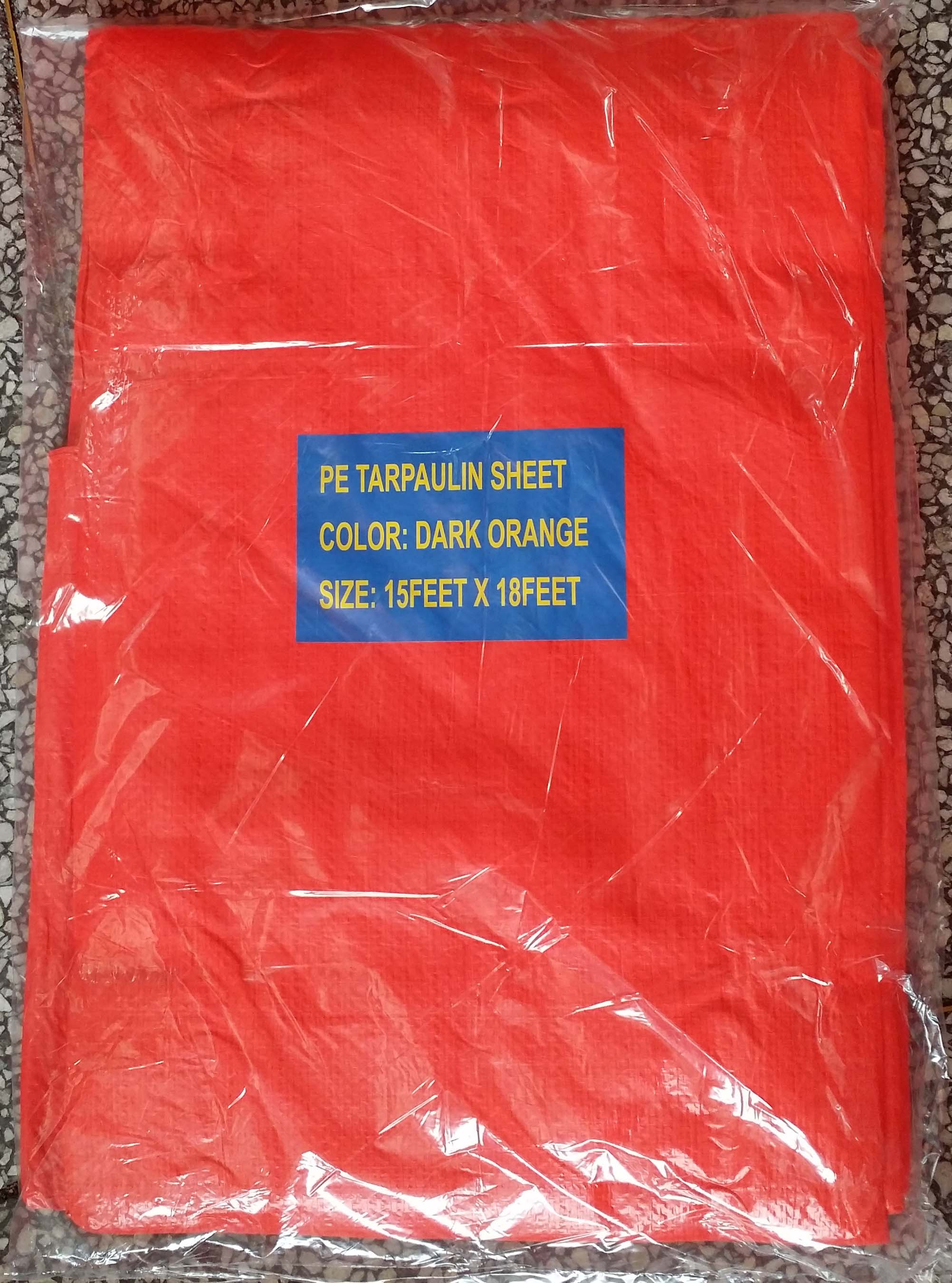 Orange PE Tarpaulin Packed in Polybag