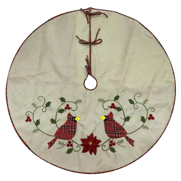 Christmas Tree skirt cuckoo hessian embroidery