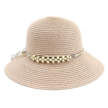 Pearl decoration wavy style summer paper straw hat