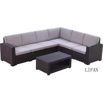 luxury Rattan couch conversation corner sofa with cushion