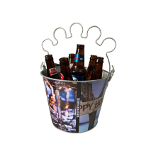bucket with glass holder &bottle opener