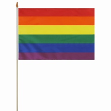 Custom design rainbow hand held flag with stick