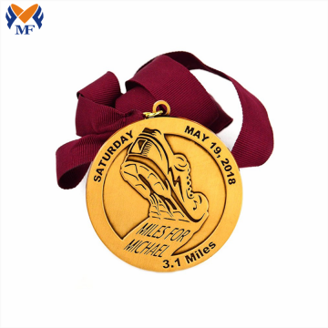 Custom diecast brass metal running medals