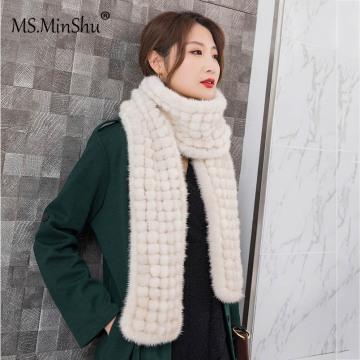 MS.Minshu Mink Fur Scarf Balls Genuine Mink Fur Balls Scarf Winter Women Warmer Korean women Fashion Scarf