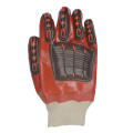 Red PVC coated gloves TPR with hand