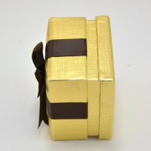 Wholesale Golden Box Brown Ribbon Earring Box