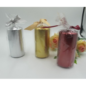 Metal Colour Festive Pillar Candles