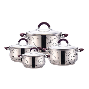 Purple induction cookware set dish with lid