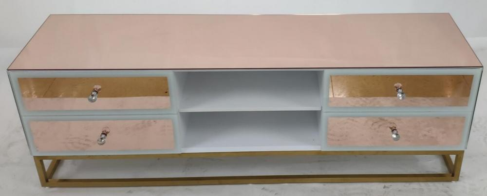 Rose gold mirror MDF painting TV unit