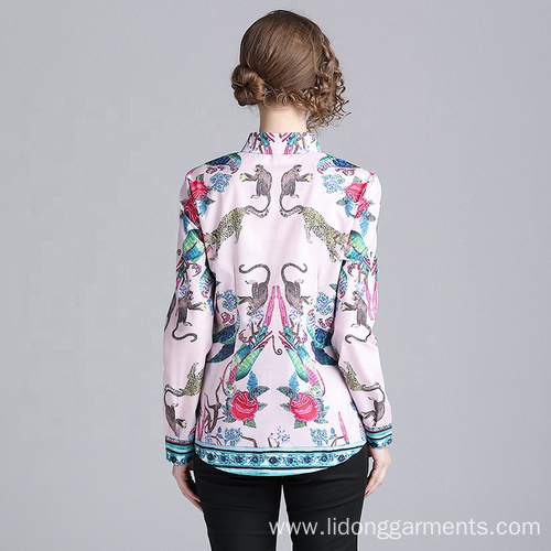 Custom Women Business Office Loose Printed Geometric Blouses