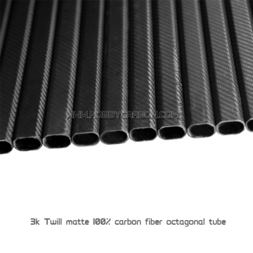 High strength 3K twil plain octagonal carbon fiber tube