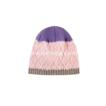 Girl's Knitted Diamond Pattern Hand Flower Beanie Cap