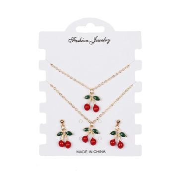 3pcs Cute Jewelry Set Small Fresh Pomegranate Red Cherry Necklace Simple Wild Cubic Zirconia Earrings Bracelet Women Jewelry Set