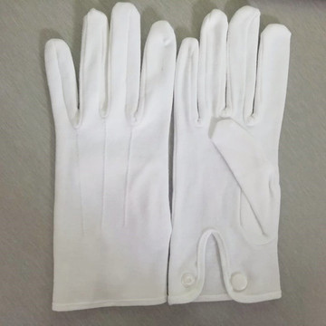 2020 Hot Sell Luxury Metal Snap Cuff White Parade Band Uniform Formal Ceremony Inspection Cotton Gloves