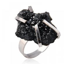 Natural Black Drusy Crystal Gemstone Women Rings