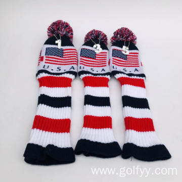 Golf knitting three-piece club set head cover