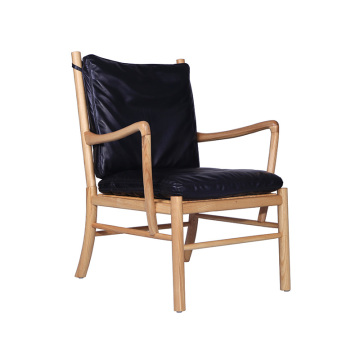 Wood Dining Chair with Black Leather Seat