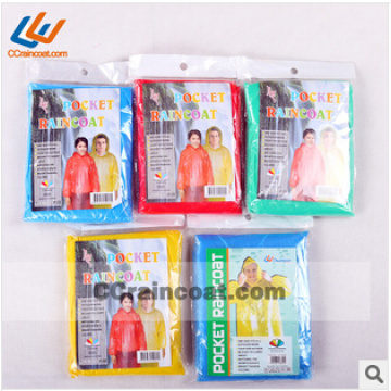 Promotional fashionable disposable pe rain poncho for adult Asian Hot