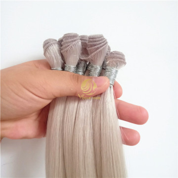 Ash blond russian hand tied weft hair