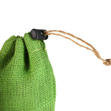 Custom green linen bag drawstring with ball