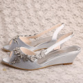 Silver Wedge Bridesmaid Shoes Sandals Peep Toe