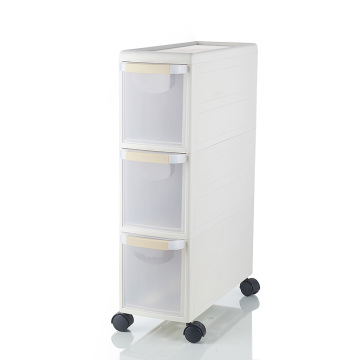 Three layers plastic drawer storage cabinet