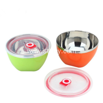 Multicolor Stainless Steel Bowls With Sealed Lids