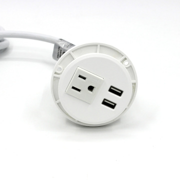 White Single socket 2 USB ports power strip in USA standard Furniture office