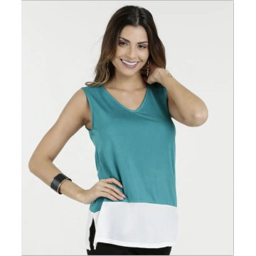 New design V-neck sleeveless blouse loose tops